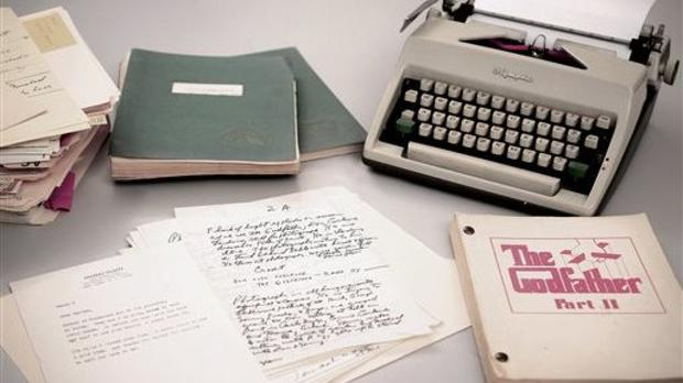 Mario Puzo's 1965 Olympia typewriter with manuscripts and versions of The Godfather I and II screenplays (RR Auction/AP)