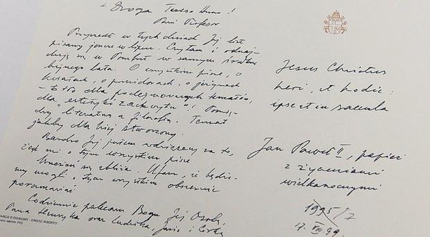 One of the letters between Pope John Paul II and Ms Tymieniecka