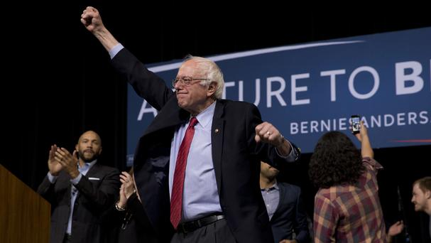 Senator Bernie Sanders acknowledges the cheering crowd after a rally in Henderson, Nevada (AP)