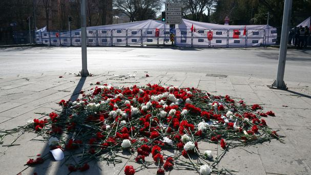 Flowers left at the site of the bomb attack in Ankara (AP)