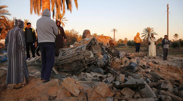 The scene after an air strike on a house and training camp belonging to Islamic State near Sabratha (AP)
