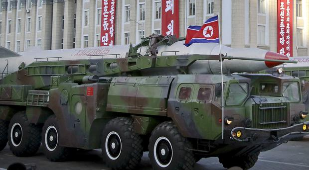 What is believed to be an improved version of the KN-08 ballistic missile is paraded in Pyongyang in October (AP)