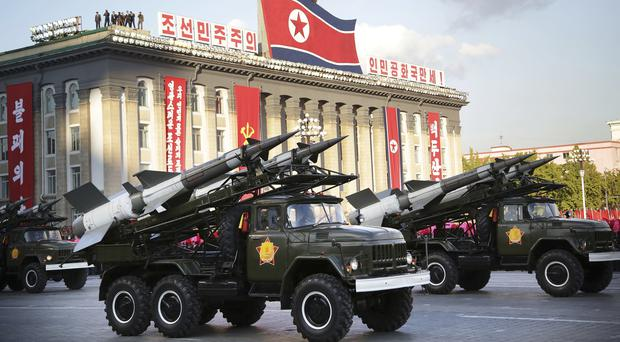 Missiles are paraded in Pyongyang during the 70th anniversary celebrations of North Korea's ruling party's creation last October (AP)