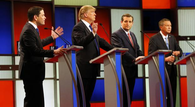 Candidates Marco Rubio, Donald Trump, Ted Cruz and John Kasich at the Republican presidential debate in Detroit (AP)