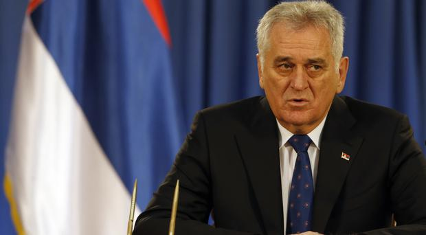 Serbian President Tomislav Nikolic addresses the media after dissolving parliament (AP)