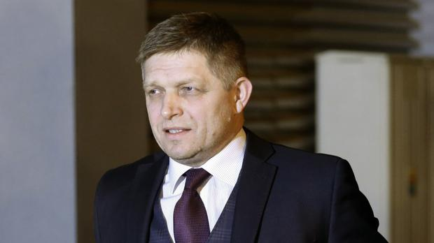 Robert Fico arrives at his party's headquarters to watch the results of the general election, in Bratislava (AP)