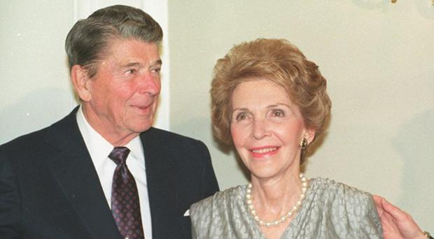 Nancy Reagan with her husband, former US president Ronald Reagan