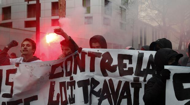 Students march during a protest in Paris (AP)