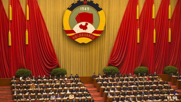 Delegates during the opening session of the Chinese People's Political Consultative Conference at Beijing's Great Hall of the People (AP)
