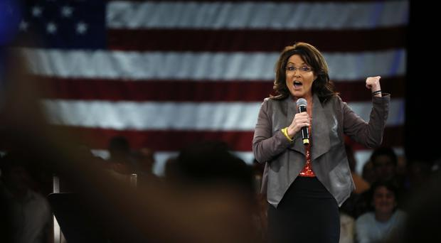 Sarah Palin speaks on behalf of Republican presidential candidate Donald Trump at a campaign event in Tampa, Florida (AP)