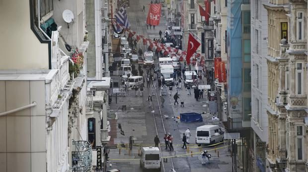 The scene of the explosion in Istanbul (AP)
