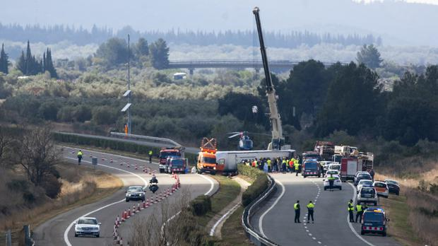The scene of the accident on the AP7 highway that links Spain with France (AP)