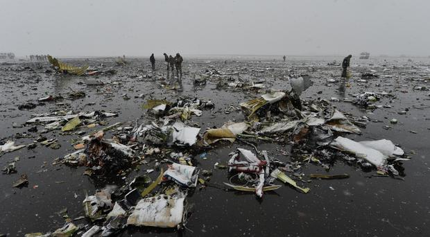 The wreckage of the crashed plane at the Rostov-on-Don airport, Russia (AP)