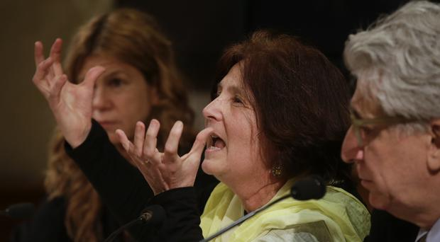Paola, the mother of Giulio Regeni, attends a press conference held at the Italian Senate in Rome (AP)