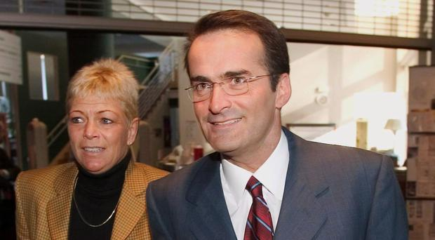 Jean Lapierre and his wife Nicole Beaulieu, pictured in 2004 - they both died along with two of his brothers and one of his sisters in a plane crash in Quebec (The Canadian Press/AP)