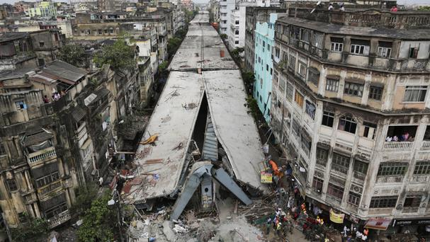 The partially collapsed overpass in Kolkata (AP)