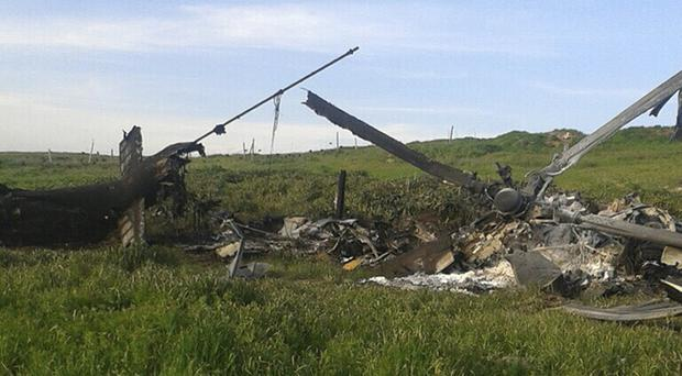 The remains of a downed helicopter following heavy fighting in the separatist Nagorno-Karabakh region over the weekend (AP)