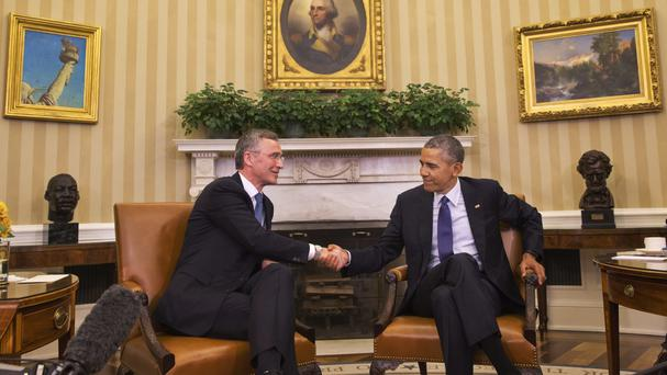 US President Barack Obama meets with Nato secretary general Jens Stoltenberg (AP)