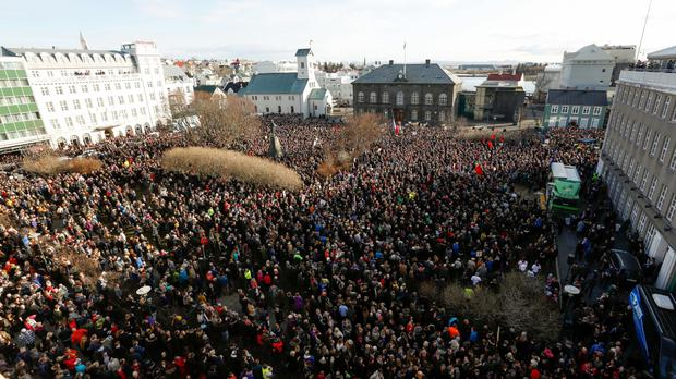 People gather to demonstrate against Iceland's prime minister in Reykjavik