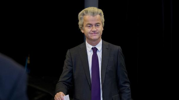 Dutch right-winger Geert Wilders casts his vote in a non-binding referendum on the EU-Ukraine association agreement in The Hague, Netherlands (AP)