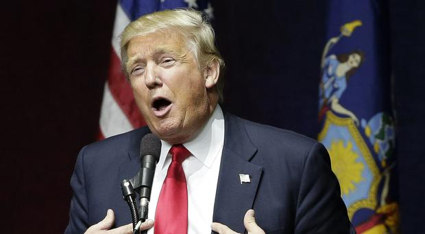 Republican presidential candidate Donald Trump speaks during a campaign rally in New York (AP)