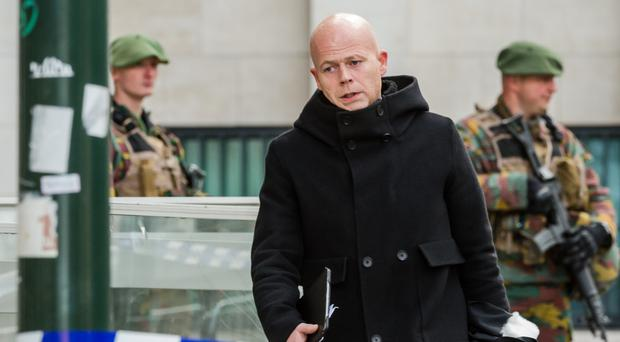 Salah Abdeslam's lawyer Sven Mary leaves a justice building in Brussels (AP)