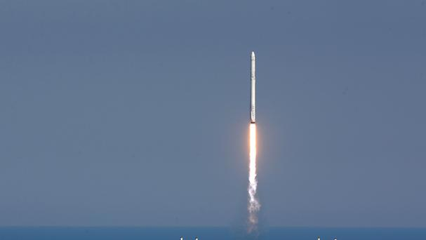 The SpaceX Falcon 9 rocket lifts off from launch complex 40 at the Kennedy Space Centre in Cape Canaveral (AP)