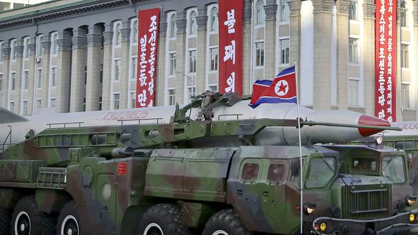 What is believed to be an improved version of the KN-08 intercontinental ballistic missile is paraded in Pyongyang during the 70th anniversary celebrations of its ruling party's creation (AP)