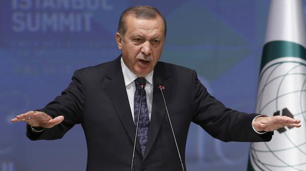 Recep Tayyip Erdogan speaks during a news conference at the end of the summit in Istanbul (AP)