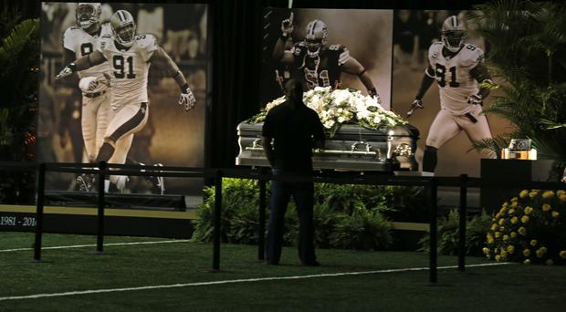 The casket of New Orleans Saints star Will Smith during a public viewing at Metairie (AP)