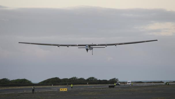 Solar Impulse 2 takes off from Kalaeloa Airport in Kapolei, Hawaii, on the next leg of its round-the-world journey (AP)