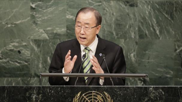 Ban Ki-moon speaks at the signing ceremony for the Paris Agreement at UN headquarters in New York (AP)