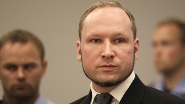 Anders Behring Breivik is held in solitary confinement in a three-cell complex where he can play video games, watch TV and exercise (AP)