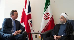 Hassan Rouhani pictured meeting David Cameron