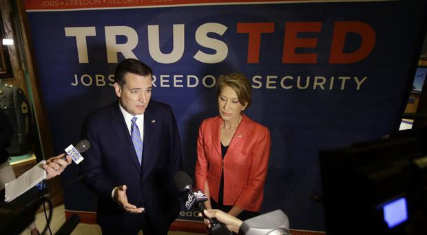 Ted Cruz and Carly Fiorina during a campaign stop in Indiana (AP)