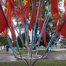 The flags of the ruling Workers' Party decorate the streets in Pyongyang (AP)