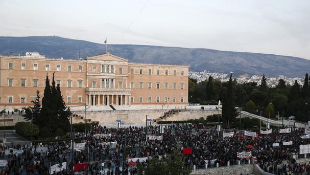 Protesters assembling in front of Greece's parliament
