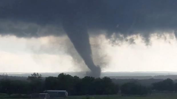 Image from a video taken through a car window of a tornado near Wynnewood, Oklahoma (Hayden Mahan/AP)