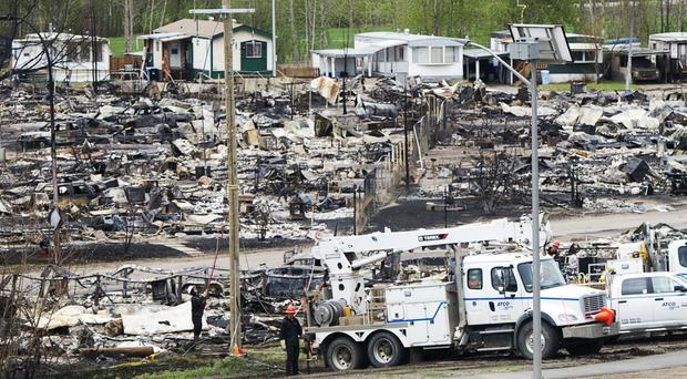 A trailer park damaged by the wildfire in Fort McMurray (Ryan Remiorz/Canadian Press/AP)