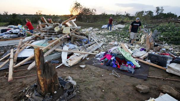 The aftermath of a tornado in Wynnewood, Oklahoma (Nate Billings/The Oklahoman/AP)