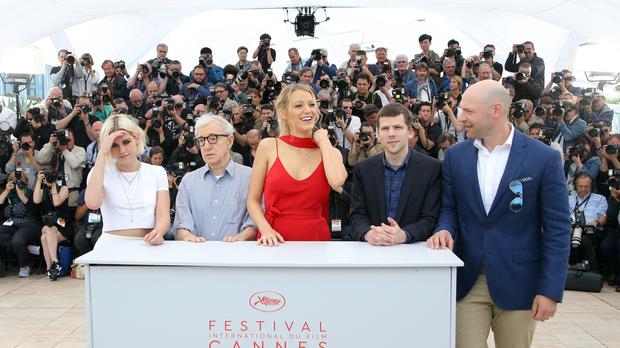 Kristen Stewart, director Woody Allen, Blake Lively, Jesse Eisenberg and Corey Stoll pose for photographers at the 69th Cannes Film Festival (AP)