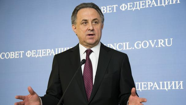 Vitaly Mutko's comments are in stark contrast to more combative comments issued before a Russian audience (AP)