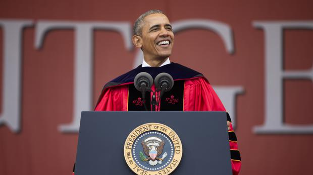 Barack Obama speaks during Rutgers University's 250th anniversary commencement (AP)