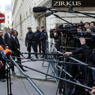 German Foreign Minister Frank-Walter Steinmeier talks to media as he arrives for the Syria talks in Vienna (AP)