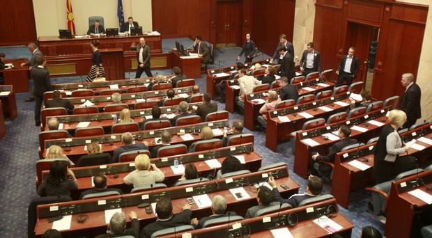 The Macedonian parliament has voted to delay a general election which had been called for June 5 (AP)