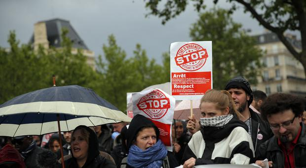Protesters demonstrate against the state of emergency in Paris (AP)