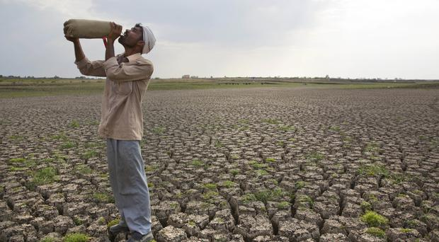 A shepherd drinks water on the dry bed of Manjara Dam (AP)