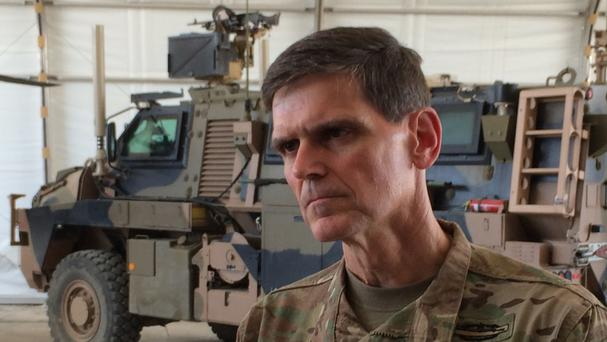 US Army Gen Joseph Votel visited the base in Taji, Iraq, where Iraqi soldiers are being trained (AP)