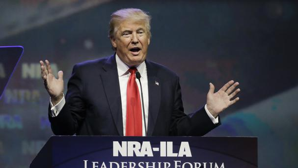 Republican presidential hopeful Donald Trump speaks at the National Rifle Association convention (AP)