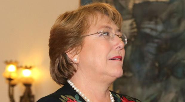 The protests broke out as President Michelle Bachelet presented a state-of-the-nation report in Chile